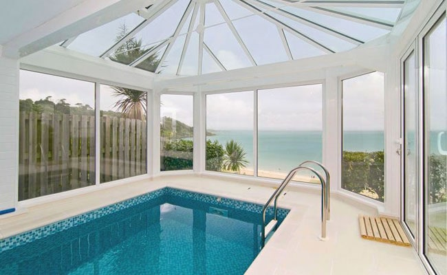 Trencrom villa st ives for Villas in uk with swimming pool