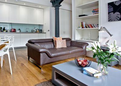 The open-plan living area at 10 Clarence, Royal William Yard, Plymouth
