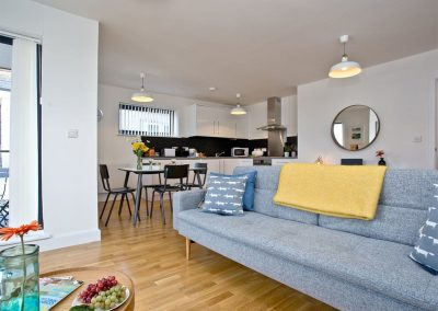 The living area at 10 Seaquest, Newquay