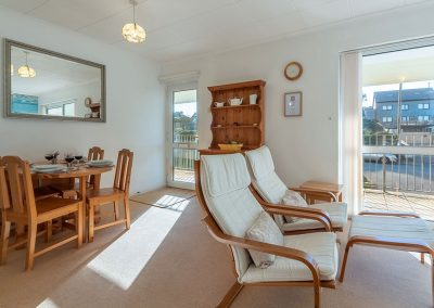 The dining & living area at 12 Westward, Polzeath