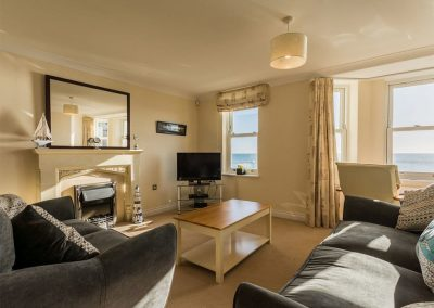 The living area at 13 Great Cliff, Dawlish