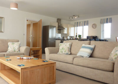 The living area at 28 Clock Tower Court, Duporth