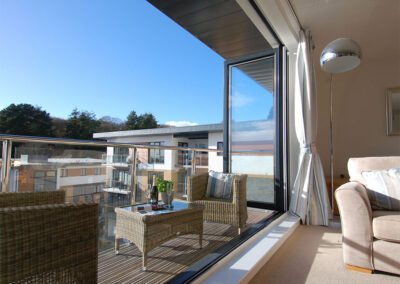 The balcony at 28 Clock Tower Court, Duporth
