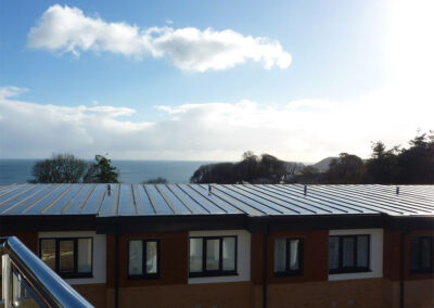 The sea view from the balcony at 28 Clock Tower Court, Duporth