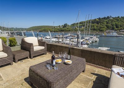 The outdoor patio at 28 Dart Marina, Dartmouth