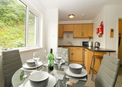 The open-plan dining area at 3 Dolphin Court, Brixham