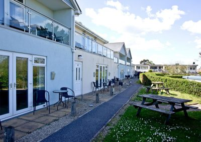 The outdoor patio and garden at 3 Red Rock, Dawlish Warren