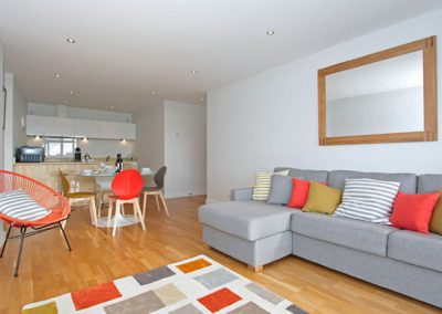 The open-plan living and dining area & kitchen @ 4 Pearl, Newquay
