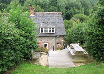 The decked patio & garden at 5 Hillside, Axmouth