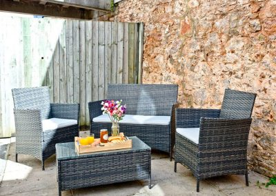 The outdoor patio at 54 Moorings Reach, Brixham