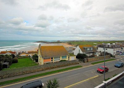 The view across to Fistral Beach from the living area
