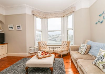 The living area at 62 Esplanade, Fowey