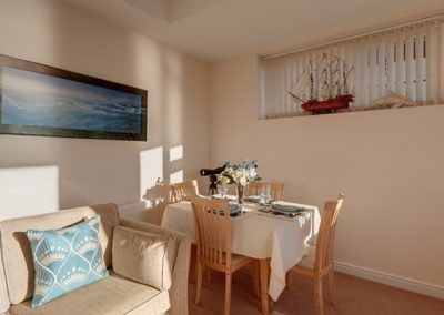 The dining area @ 7 Vista Apartments, Paignton