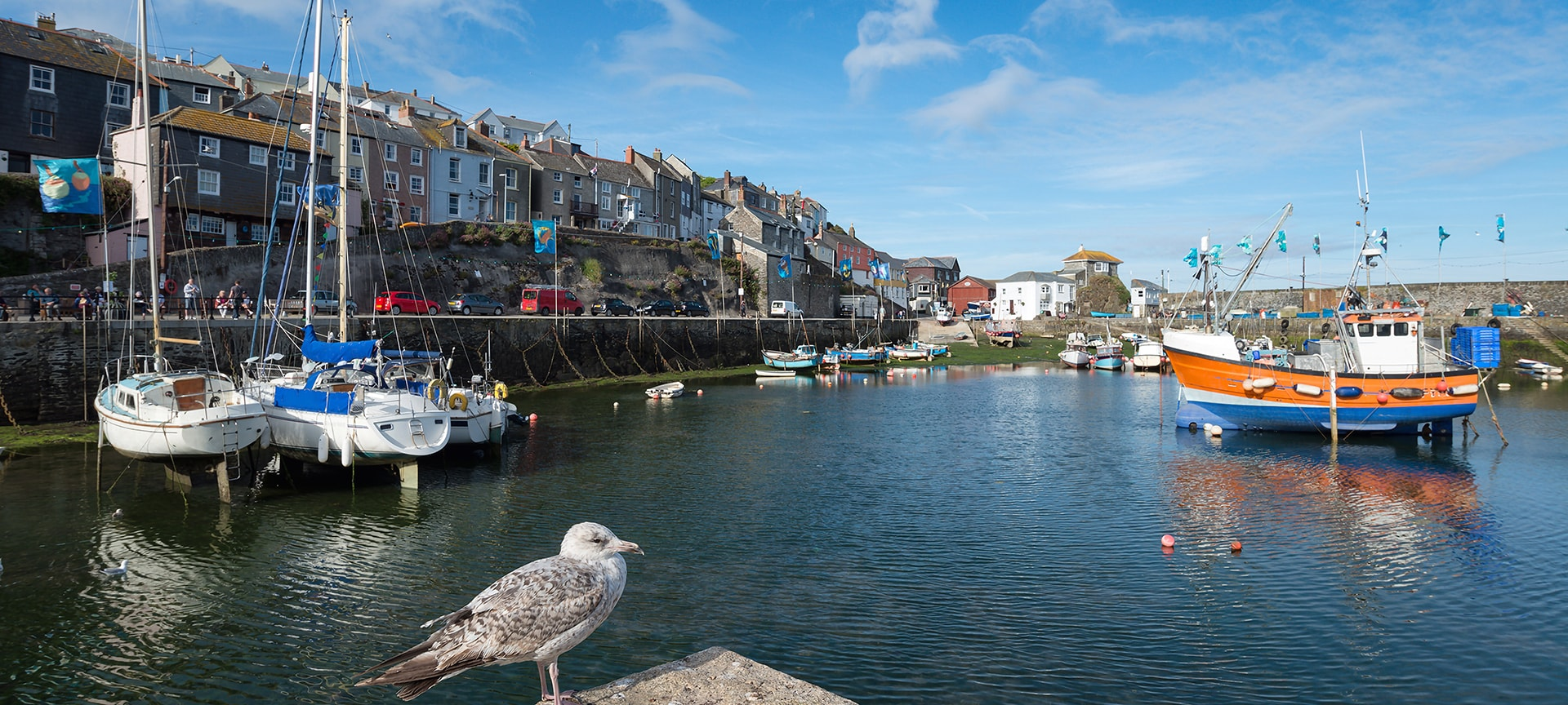 The inner and outer harbours at Mevagissey are always filled with working and pleasure craft including a small fishing fleet and popular fishing tour boats. Stroll around the shops and restaurants or enjoy an ice cream and fish and chips on the harbour wall.
