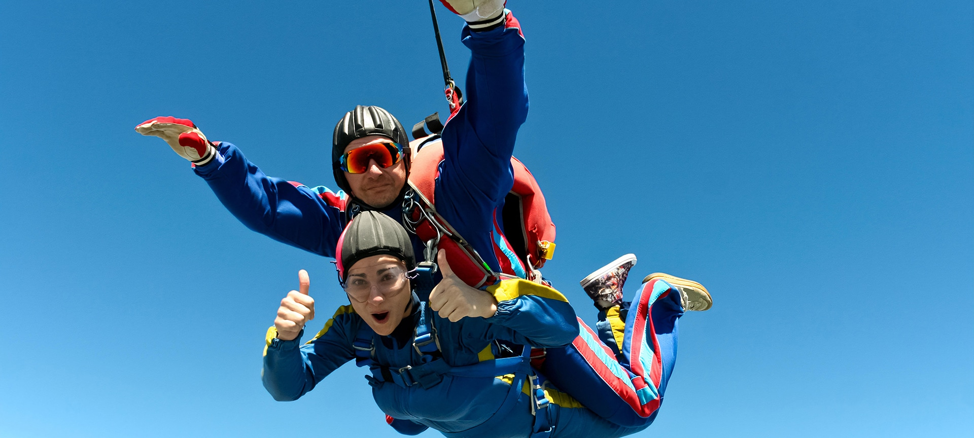A tandem skydive is the thrill of a lifetime, from the rush as you jump from the aircraft, to the realisation you're in freefall, to the moment the parachute begins to open above you.