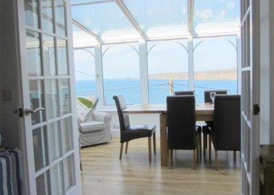 The dining area at Adanac, Sennen Cove
