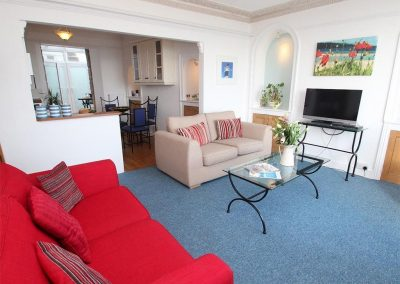 The living area at Admiral's View, St Ives