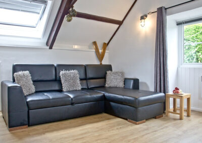 The open-plan living area at Anchor Cottage, Strete