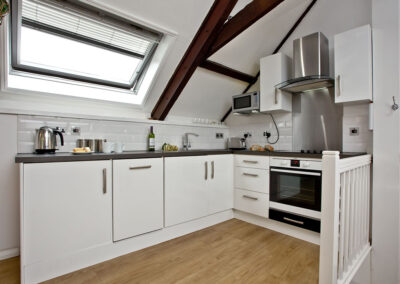 The open-plan kitchen at Anchor Cottage, Strete