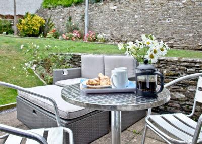 The patio & garden at Anchor Cottage, Strete