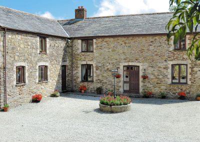 Outside Anneth Lowen, Rescorla Farm Cottages, Rescorla