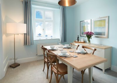 The dining area at Argus Cottage, Pendeen Lighthouse, Pendeen