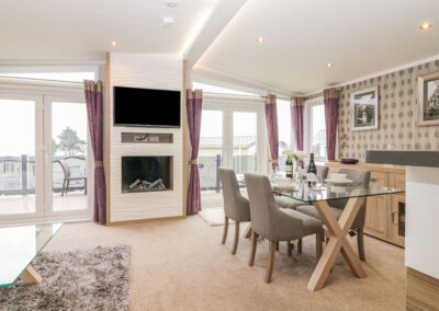 The living area at B26, Landscove Holiday Village, Brixham
