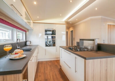 The kitchen at B26, Landscove Holiday Village, Brixham