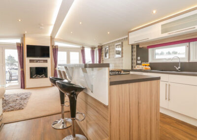 The breakfast bar & kitchen at B26, Landscove Holiday Village, Brixham