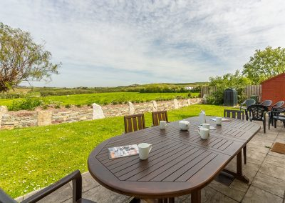 The patio & garden at Badgers Drift, Trebetherick