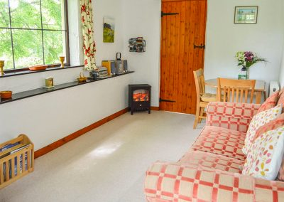 The living area at Barley Cottage, Hartland