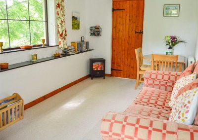 The living area at Barley Cottage, Hartland