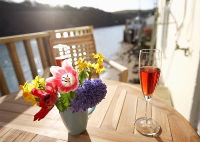 The decked balcony at Barnacles, Fowey