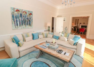 The living area at Barrington House, Dartmouth