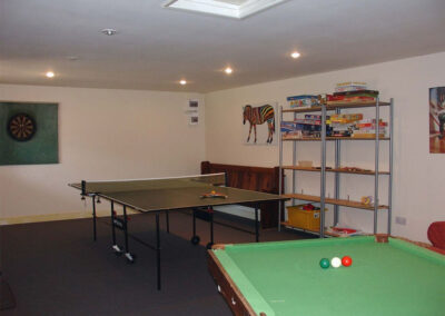 The communal games room at Northleigh Farm, Colyton