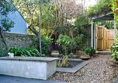 The enclosed courtyard garden at Bay House, Brixham