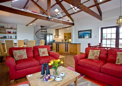 The open-plan living area at Bayview, Portwrinkle