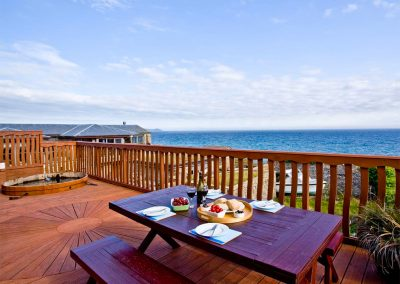 The outdoor patio at Bayview, Portwrinkle