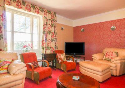 The living area at Benbole Farmhouse, St Kew