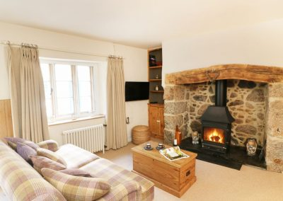 The living area at Blackberry Cottage, Chagford