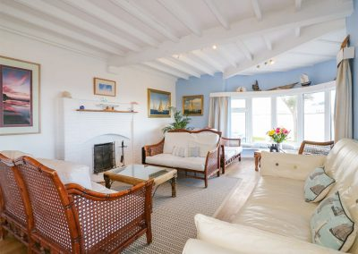 The living area at Blue Bay Beach House, Trenance