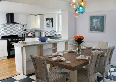 The dining area at Bosprennis, Mevagissey