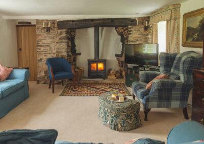 The living area at Bratton Mill Farmhouse, Bratton Fleming