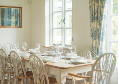 The dining area at Bratton Mill Farmhouse, Bratton Fleming