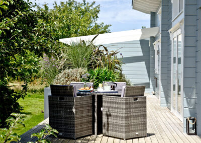 The decked patio at Broadpath, Great Field Lodges, Braunton