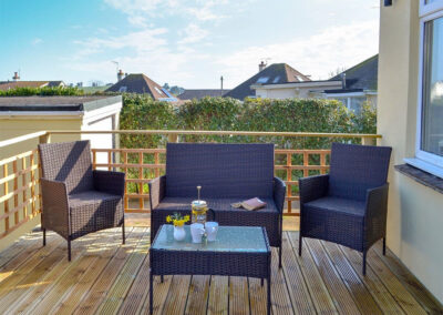 The decked patio at Broadsands Retreat, Goodrington