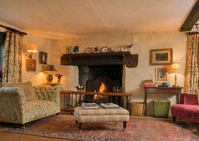 The living area at Brooks Cottage, Dunsford