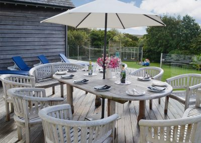 The decked patio at Buddleia, West Charleton