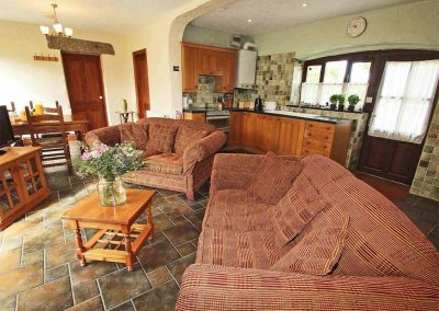 The open-plan living area at Byre Cottage, Bridge
