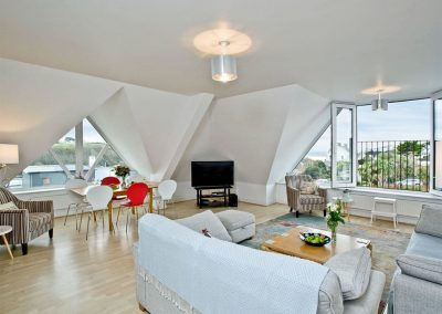 The living area at Carvell's Penthouse, Pentire Mews, Newquay
